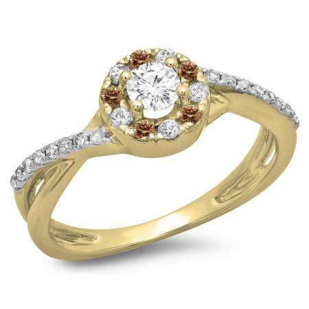 0.50 Carat (ctw) 10K Yellow Gold Round Cut Champagne & White Diamond Ladies Swirl Split Shank Bridal Halo Engagement Ring 1/2 CT