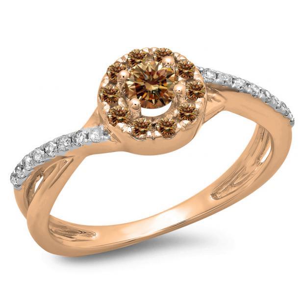 0.50 Carat (ctw) 14K Rose Gold Round Cut Champagne & White Diamond Ladies Swirl Split Shank Bridal Halo Engagement Ring 1/2 CT