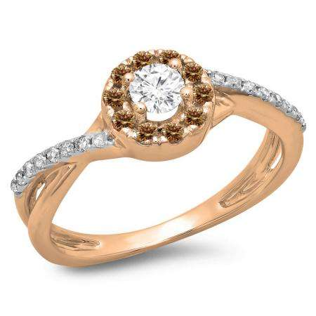 0.50 Carat (ctw) 14K Rose Gold Round Cut Champagne & White Diamond Ladies Swirl Split Shank Bridal Halo Engagement Ring 1/2 CT