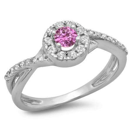 0.50 Carat (ctw) 18K White Gold Round Cut Pink Sapphire & White Diamond Ladies Swirl Split Shank Bridal Halo Engagement Ring 1/2 CT