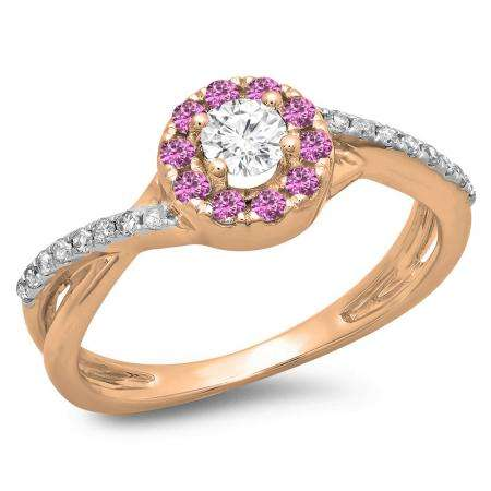 0.50 Carat (ctw) 14K Rose Gold Round Cut Pink Sapphire & White Diamond Ladies Swirl Split Shank Bridal Halo Engagement Ring 1/2 CT