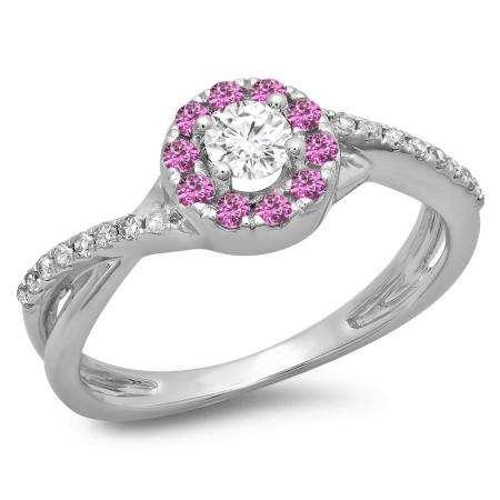 0.50 Carat (ctw) 14K White Gold Round Cut Pink Sapphire & White Diamond Ladies Swirl Split Shank Bridal Halo Engagement Ring 1/2 CT