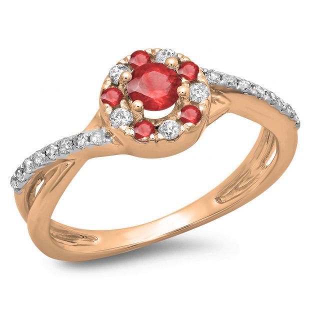 0.50 Carat (ctw) 18K Rose Gold Round Cut Ruby & White Diamond Ladies Swirl Split Shank Bridal Halo Engagement Ring 1/2 CT
