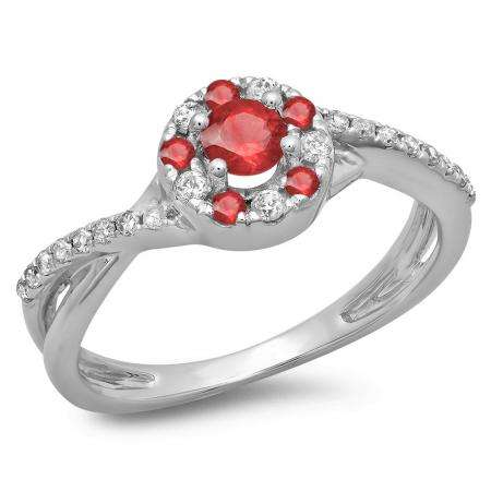 0.50 Carat (ctw) 18K White Gold Round Cut Ruby & White Diamond Ladies Swirl Split Shank Bridal Halo Engagement Ring 1/2 CT