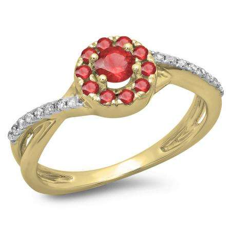 0.50 Carat (ctw) 18K Yellow Gold Round Cut Ruby & White Diamond Ladies Swirl Split Shank Bridal Halo Engagement Ring 1/2 CT