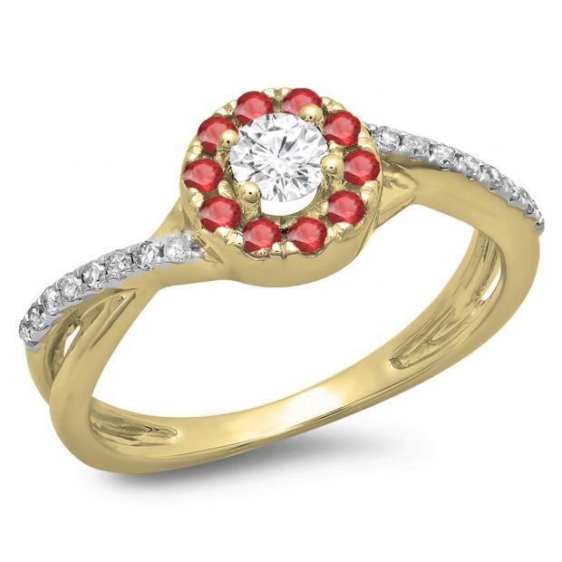 0.50 Carat (ctw) 10K Yellow Gold Round Cut Ruby & White Diamond Ladies Swirl Split Shank Bridal Halo Engagement Ring 1/2 CT