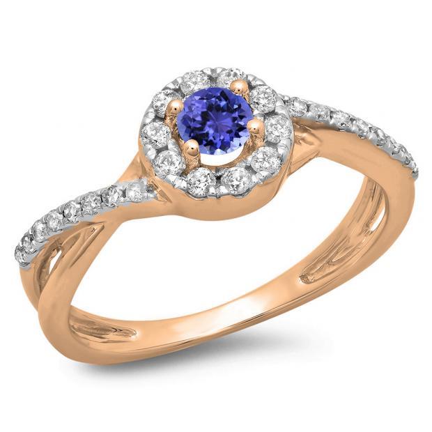 0.50 Carat (ctw) 10K Rose Gold Round Cut Tanzanite & White Diamond Ladies Swirl Split Shank Bridal Halo Engagement Ring 1/2 CT