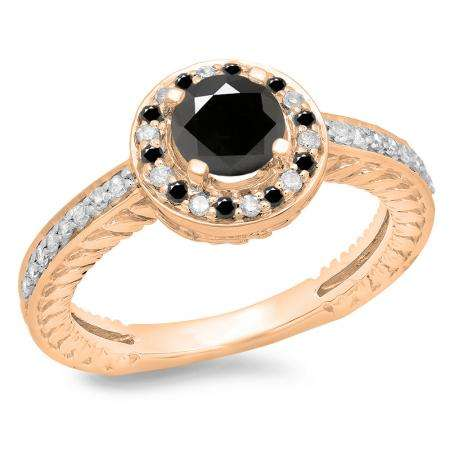 1.00 Carat (ctw) 18K Rose Gold Round Cut Black & White Diamond Ladies Bridal Vintage Halo Style Engagement Ring 1 CT