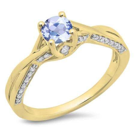 0.75 Carat (ctw) 10K Yellow Gold Round Cut Tanzanite & White Diamond Ladies Solitaire With Accents Bridal Twisted Swirl Engagement Ring 3/4 CT