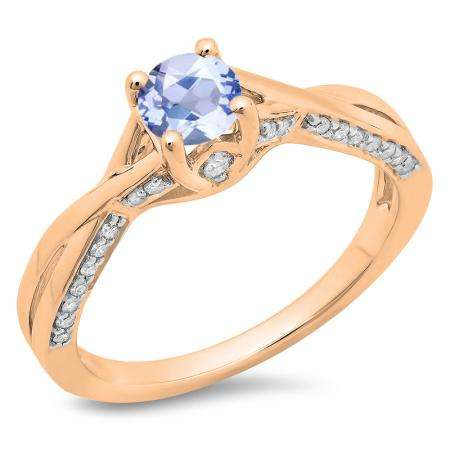 0.75 Carat (ctw) 18K Rose Gold Round Cut Tanzanite & White Diamond Ladies Solitaire With Accents Bridal Twisted Swirl Engagement Ring 3/4 CT