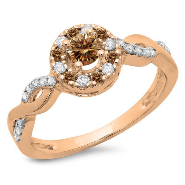 0.55 Carat (ctw) 14K Rose Gold Round Cut Champagne & White Diamond Ladies Swirl Bridal Halo Engagement Ring 1/2 CT