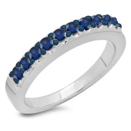 0.45 Carat (ctw) 10K White Gold Round Cut Blue Sapphire Ladies Anniversary Wedding Band Stackable Ring 1/2 CT