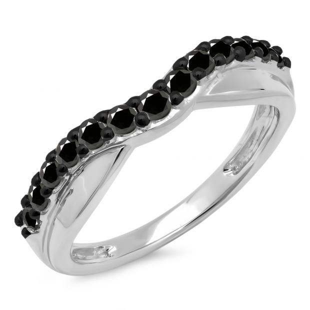 0.55 Carat (ctw) 10K White Gold Round Cut Black Diamond Ladies Anniversary Wedding Guard Contour Band 1/2 CT