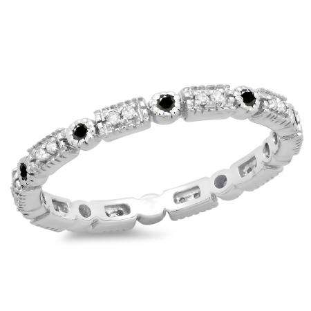 0.25 Carat (ctw) 18K White Gold Round Black And White Diamond Ladies Vintage Style Anniversary Wedding Eternity Band Stackable Ring 1/4 CT