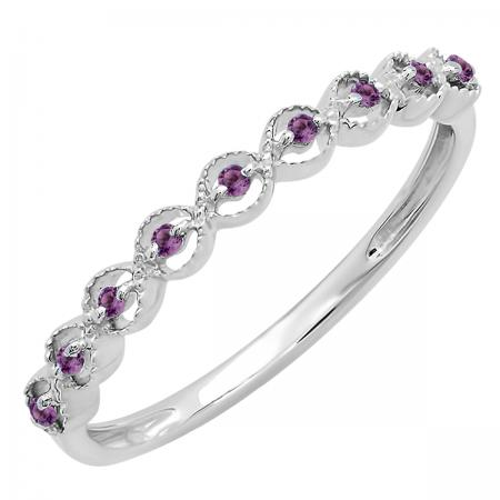 0.10 Carat (ctw) Sterling Silver Round Amethyst Ladies Anniversary Wedding Stackable Band Ring 1/10 CT