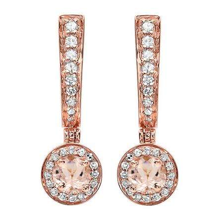 0.50 Carat (ctw) 18K Rose Gold Round Morganite & White Diamond Ladies Fine Dangling Drop Earrings 1/2 CT