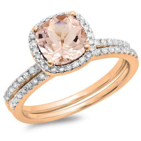 1 60 Carat Ctw 14k Rose Gold Cushion Cut Morganite Round Cut White Diamond Ladies Bridal Halo Engagement Ring With Matching Band Set Dazzling