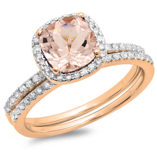 1.60 Carat (ctw) 18K Rose Gold Cushion Cut Morganite & Round Cut White Diamond Ladies Bridal Halo Engagement Ring With Matching Band Set