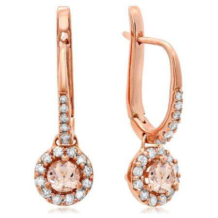 0.45 Carat (ctw) 18K Rose Gold Round Morganite & White Diamond Ladies Halo Style Dangling Drop Earrings 1/2 CT