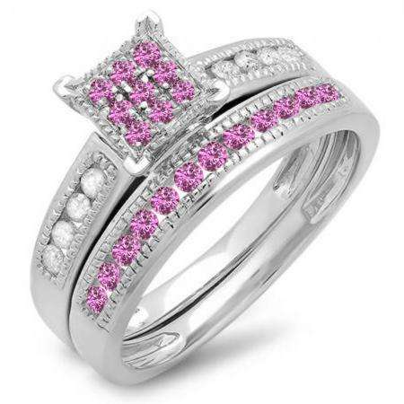 0.55 Carat (ctw) 14K White Gold Round Pink Sapphire & White Diamond Ladies Engagement Bridal Ring Matching Band Set 1/2 CT