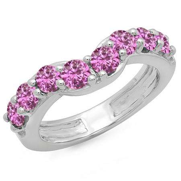 1.00 Carat (ctw) 10K White Gold Round Pink Sapphire Ladies Anniversary Wedding Band Matching Ring 1 CT