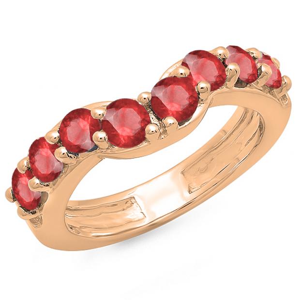 1.00 Carat (ctw) 10K Rose Gold Round Ruby Ladies Anniversary Wedding Band Matching Ring 1 CT