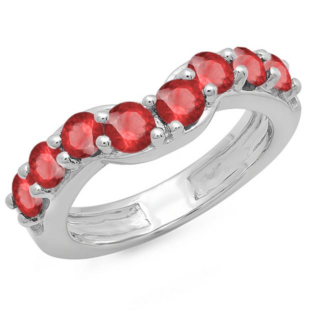1.00 Carat (ctw) 14K White Gold Round Ruby Ladies Anniversary Wedding Band Matching Ring 1 CT