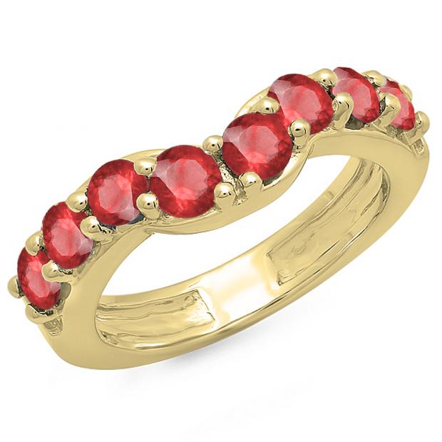 1.00 Carat (ctw) 14K Yellow Gold Round Ruby Ladies Anniversary Wedding Band Matching Ring 1 CT