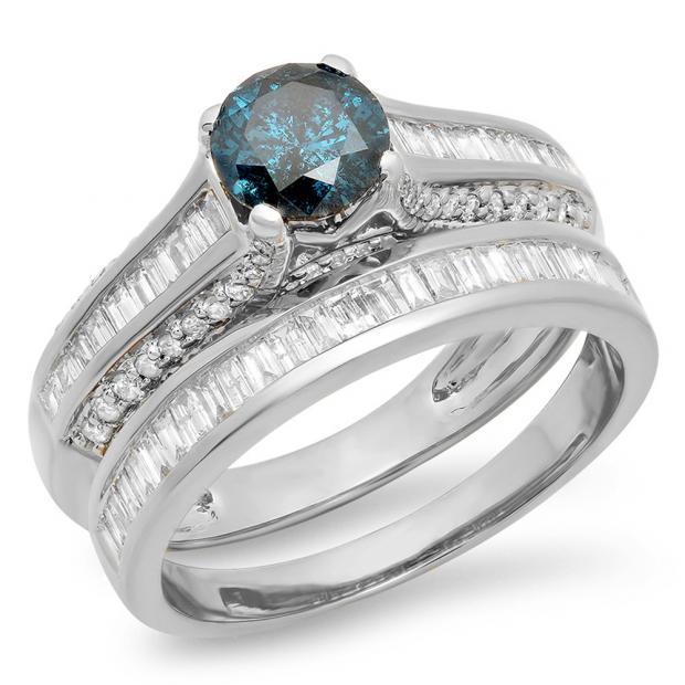 1.25 Carat (ctw) 18K White Gold Round & Baguette Cut Blue & White Diamond Ladies Vintage Bridal Engagement Ring Set 1 1/4 CT