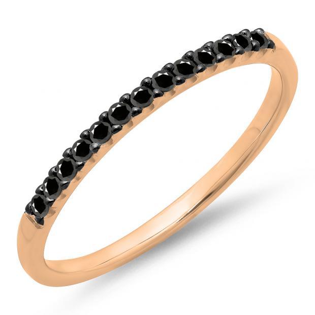 0.15 Carat (ctw) 10k Rose Gold Round Black Diamond Ladies Anniversary Wedding Band Stackable Ring
