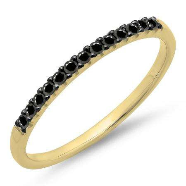 0.15 Carat (ctw) 14k Yellow Gold Round Black Diamond Ladies Anniversary Wedding Band Stackable Ring