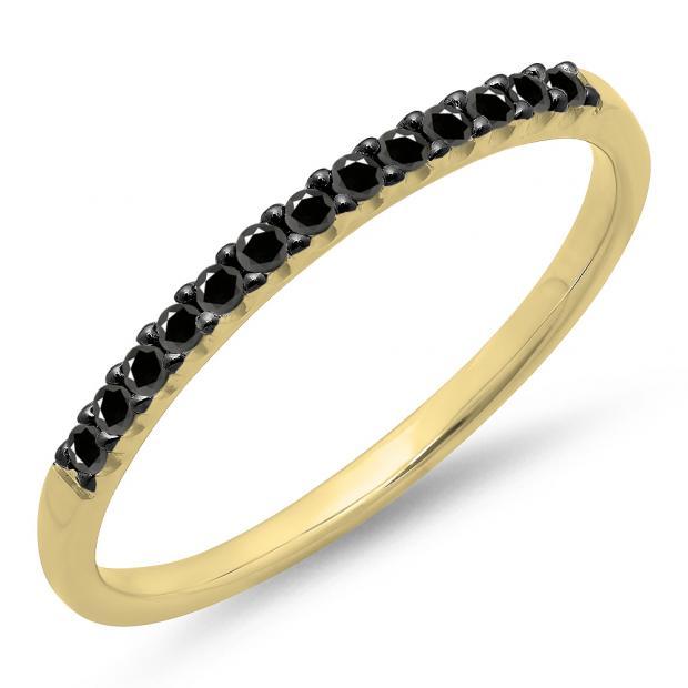 0.15 Carat (ctw) 18k Yellow Gold Round Black Diamond Ladies Anniversary Wedding Band Stackable Ring