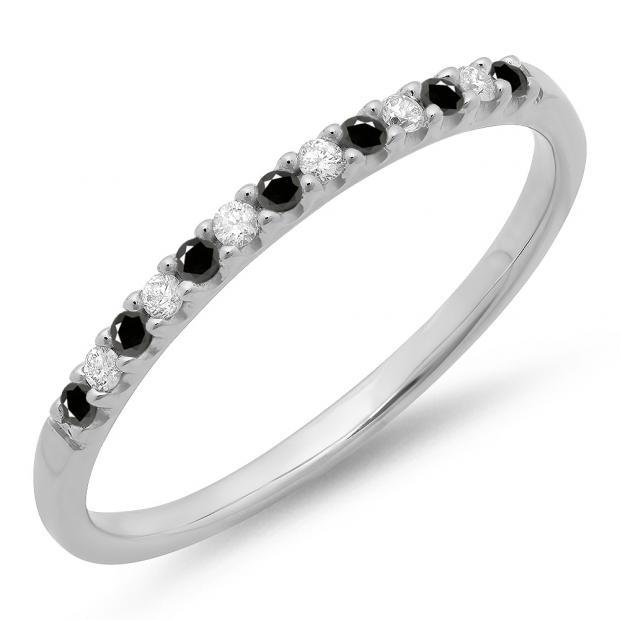0.15 Carat (ctw) 10k White Gold Round Black & White Diamond Ladies Anniversary Wedding Band Stackable Ring