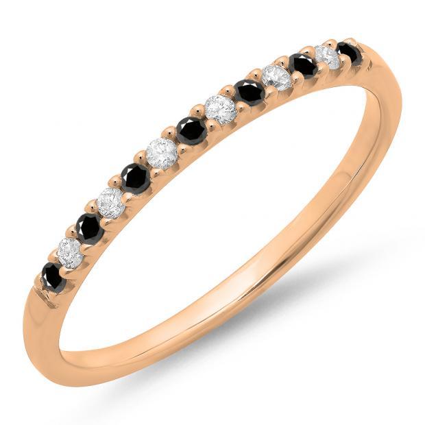 0.15 Carat (ctw) 18k Rose Gold Round Black & White Diamond Ladies Anniversary Wedding Band Stackable Ring