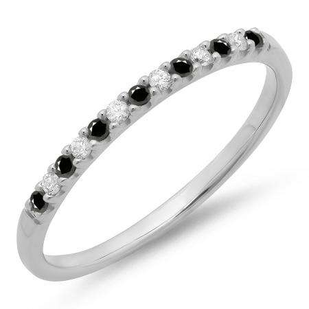 0.15 Carat (ctw) 18k White Gold Round Black & White Diamond Ladies Anniversary Wedding Band Stackable Ring