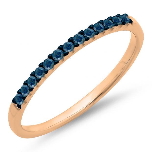 0.15 Carat (ctw) 10k Rose Gold Round Blue Diamond Ladies Anniversary Wedding Band Stackable Ring
