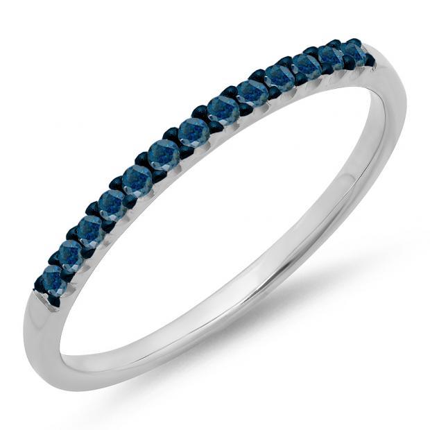 0.15 Carat (ctw) 10k White Gold Round Blue Diamond Ladies Anniversary Wedding Band Stackable Ring