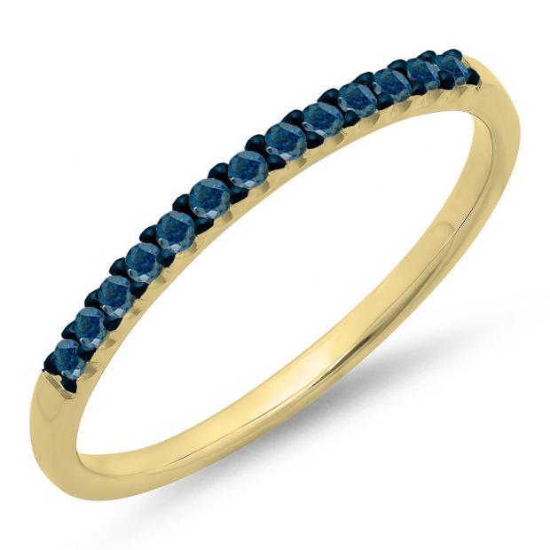 0.15 Carat (ctw) 14k Yellow Gold Round Blue Diamond Ladies Anniversary Wedding Band Stackable Ring