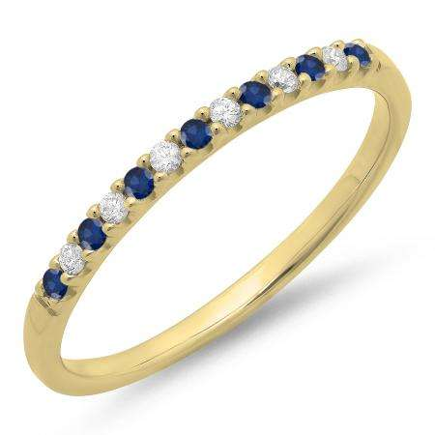 0.15 Carat (ctw) 14k Yellow Gold Round Blue Sapphire & White Diamond Ladies Anniversary Wedding Band Stackable Ring