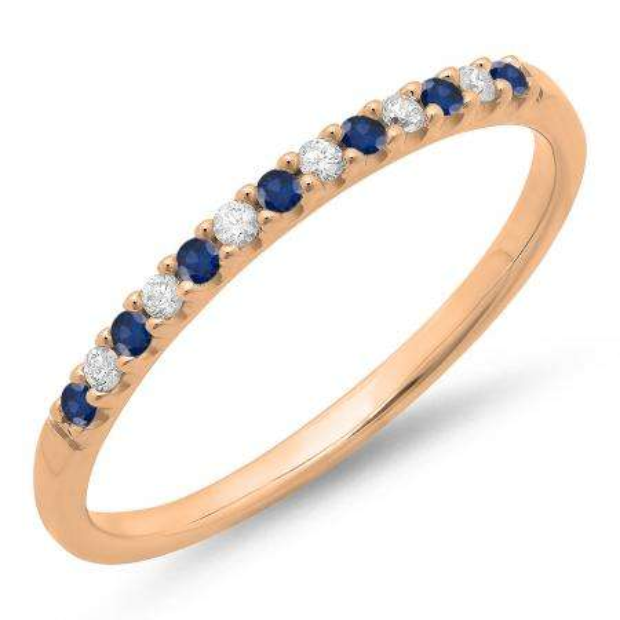 0.15 Carat (ctw) 18k Rose Gold Round Blue Sapphire & White Diamond Ladies Anniversary Wedding Band Stackable Ring