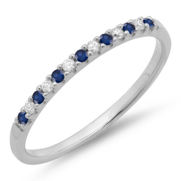 0.15 Carat (ctw) 18k White Gold Round Blue Sapphire & White Diamond Ladies Anniversary Wedding Band Stackable Ring
