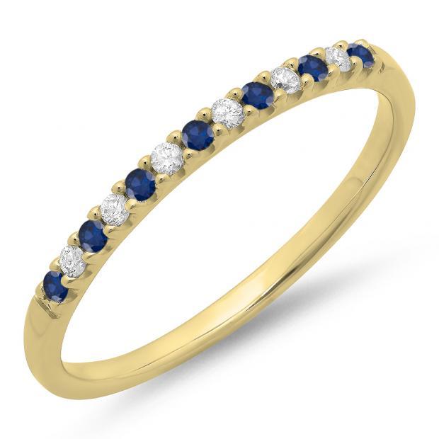 0.15 Carat (ctw) 18k Yellow Gold Round Blue Sapphire & White Diamond Ladies Anniversary Wedding Band Stackable Ring
