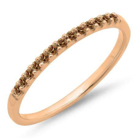 0.15 Carat (ctw) 10k Rose Gold Round Champagne Diamond Ladies Anniversary Wedding Band Stackable Ring