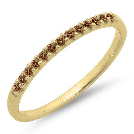 0.15 Carat (ctw) 10k Yellow Gold Round Champagne Diamond Ladies Anniversary Wedding Band Stackable Ring