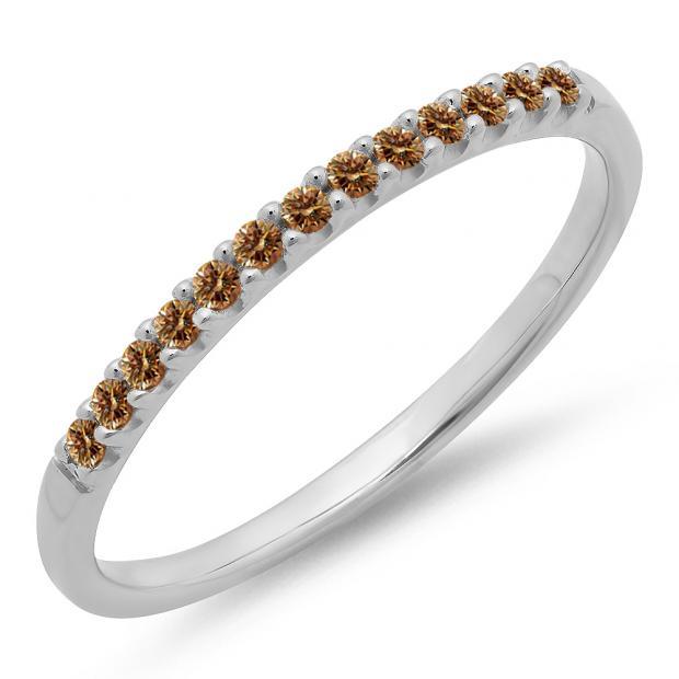 0.15 Carat (ctw) 18k White Gold Round Champagne Diamond Ladies Anniversary Wedding Band Stackable Ring