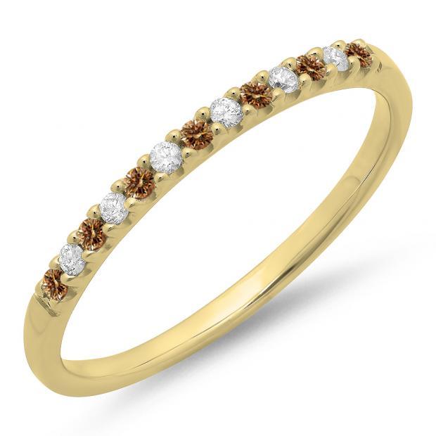0.15 Carat (ctw) 10k Yellow Gold Round Champagne & White Diamond Ladies Anniversary Wedding Band Stackable Ring