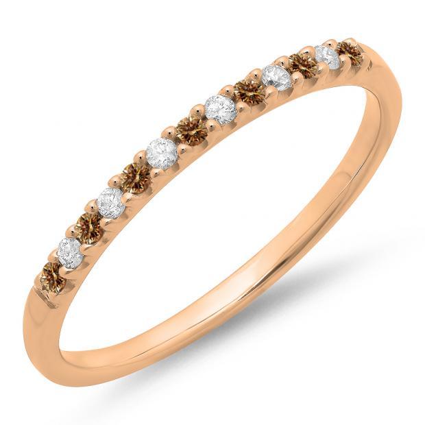 0.15 Carat (ctw) 18k Rose Gold Round Champagne & White Diamond Ladies Anniversary Wedding Band Stackable Ring