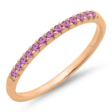0.15 Carat (ctw) 10k Rose Gold Round Pink Sapphire Ladies Anniversary Wedding Band Stackable Ring