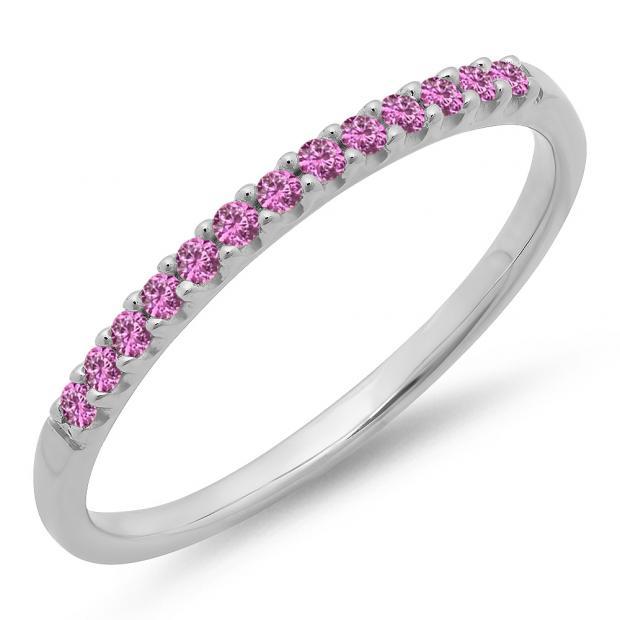 0.15 Carat (ctw) 10k White Gold Round Pink Sapphire Ladies Anniversary Wedding Band Stackable Ring