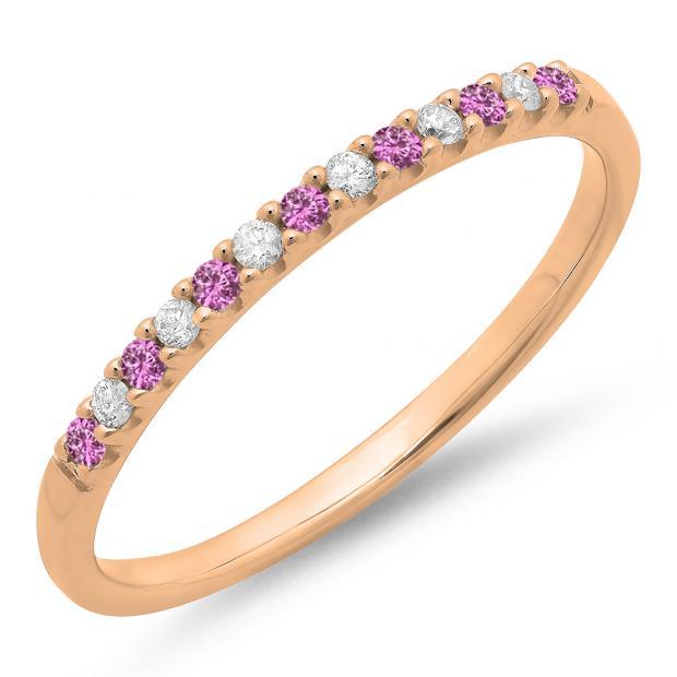 0.15 Carat (ctw) 10k Rose Gold Round Pink Sapphire & White Diamond Ladies Anniversary Wedding Band Stackable Ring